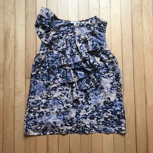 Cabi Blue Floral Sleeveless Ruffle Blouse